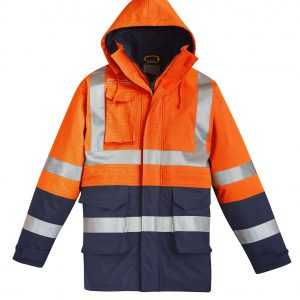Mens FR Arc Rated Anti Static Waterproof Jacket - Orange/Navy