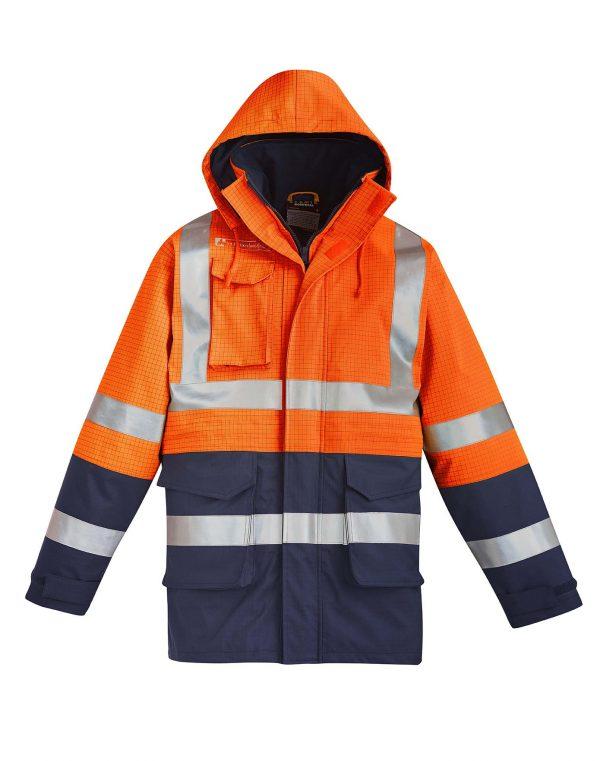 Mens FR Arc Rated Anti Static Waterproof Jacket - Orange/Navy