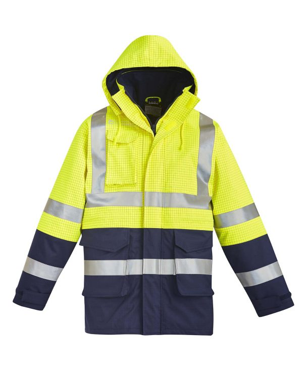 Mens FR Arc Rated Anti Static Waterproof Jacket - Yellow/Navy