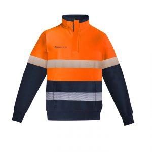 Mens Orange Flame HRC 2 Hoop Taped 1/4 Zip Brushed Fleece - Orange/Navy