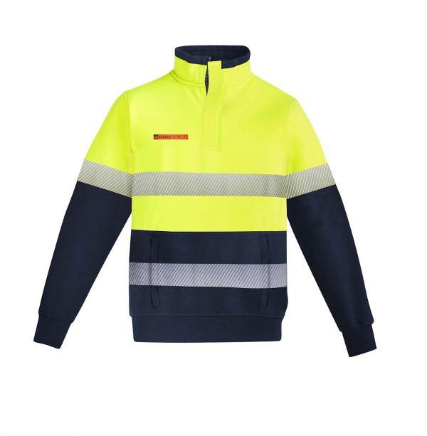 Mens Orange Flame HRC 2 Hoop Taped 1/4 Zip Brushed Fleece - Yellow/Navy