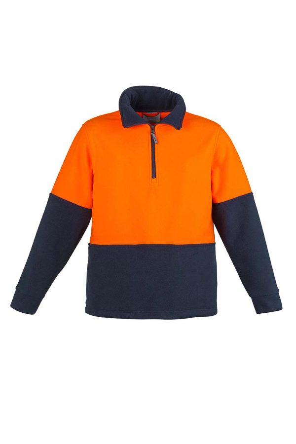 Unisex Hi Vis Half Zip Fleece Jumper - Orange/Navy