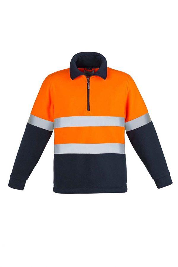Mens Hi Vis Fleece Jumper - Hoop Taped - Orange/Navy