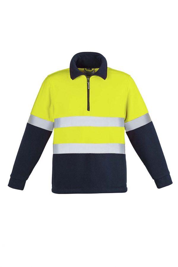 Mens Hi Vis Fleece Jumper - Hoop Taped - Yellow/Navy