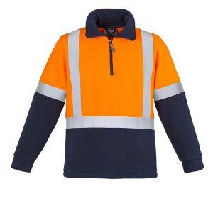 Mens Hi Vis Fleece Jumper - Shoulder Taped - Orange/Navy
