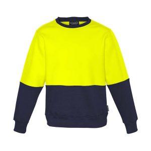 Unisex Hi Vis Crew Sweatshirt - Yellow/Navy