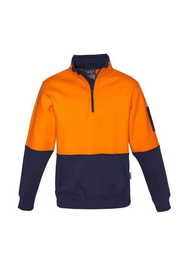 Unisex Hi Vis Half Zip Pullover - Orange/Navy