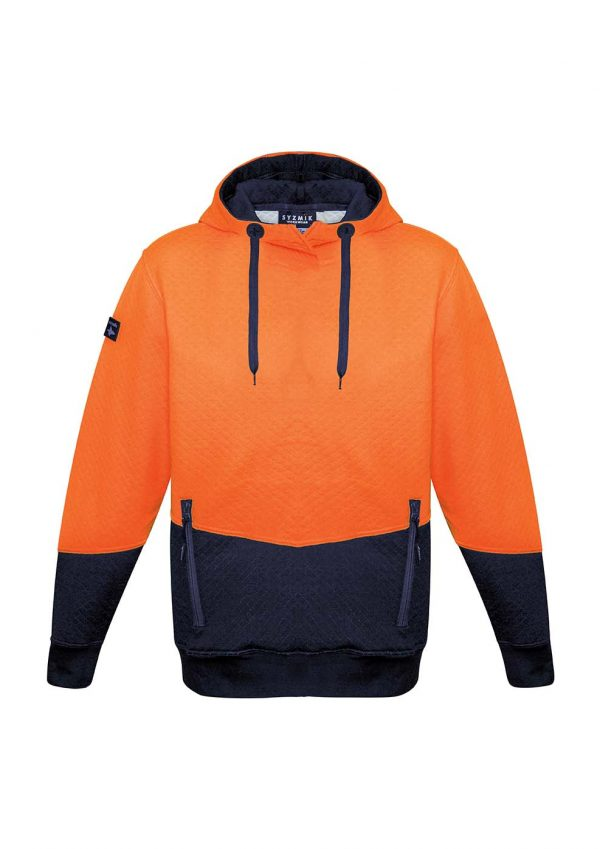 Unisex Hi Vis Textured Jacquard Hoodie - Orange/Navy