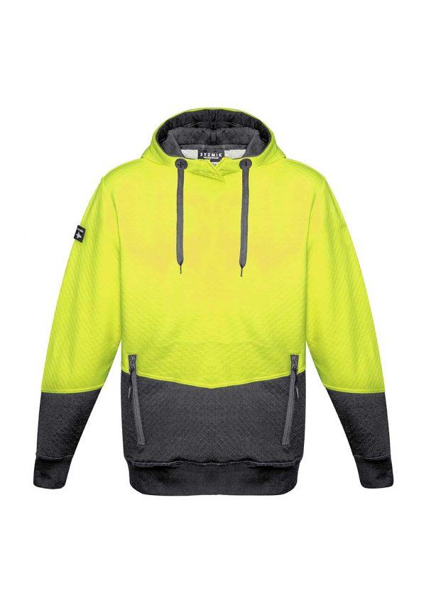 Unisex Hi Vis Textured Jacquard Hoodie - Yellow/Charcoal