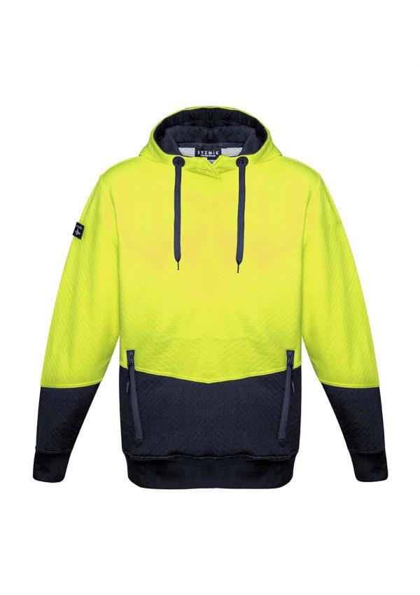 Unisex Hi Vis Textured Jacquard Hoodie - Yellow/Navy