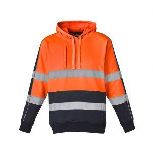 Unisex Hi Vis Stretch Taped Hoodie - Orange/Navy