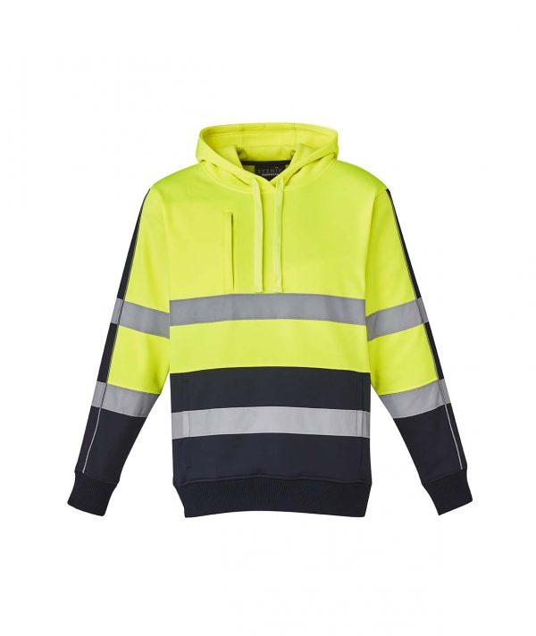 Unisex Hi Vis Stretch Taped Hoodie - Yellow/Navy