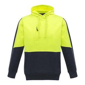 Unisex Hi Vis Pullover Hoodie - Yellow/Navy