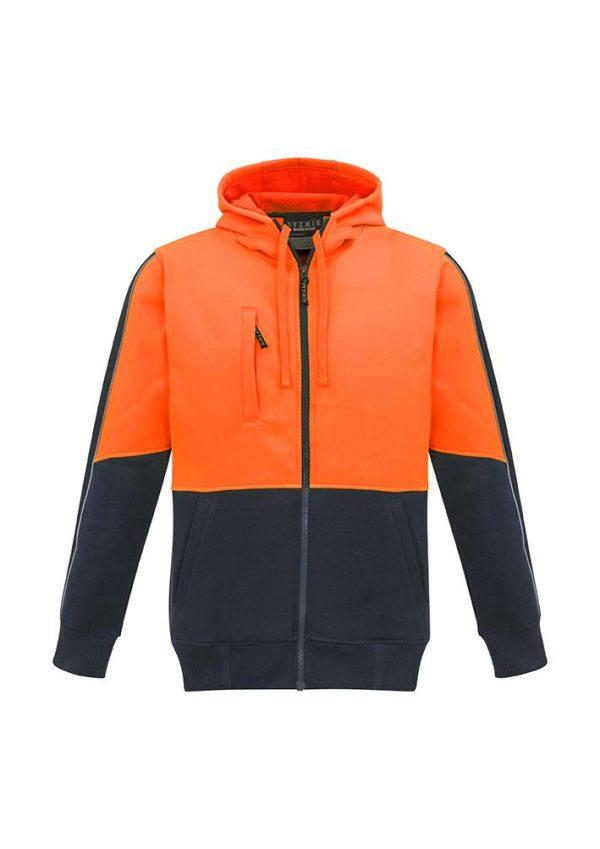 Unisex Hi Vis Full Zip Hoodie - Orange/Navy