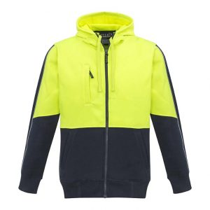 Unisex Hi Vis Full Zip Hoodie - Yellow/Navy