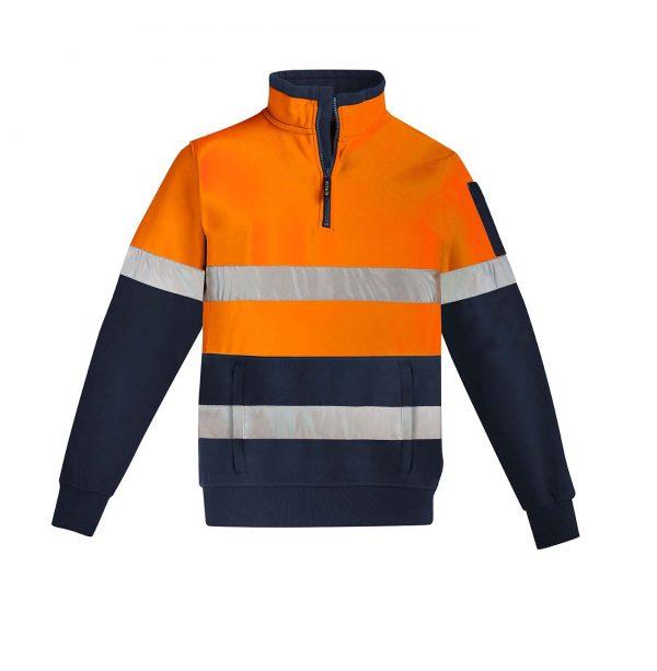 Mens Hi Vis 1/4 Zip Pullover - Hoop Taped - Orange/Navy
