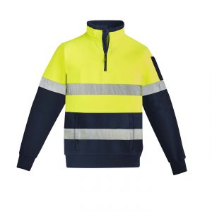 Mens Hi Vis 1/4 Zip Pullover - Hoop Taped - Yellow/Navy