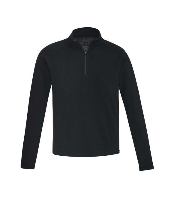 Mens Merino Wool Mid-Layer Pullover - Black