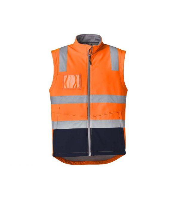 Unisex Hi Vis Softshell Vest - Orange/Navy