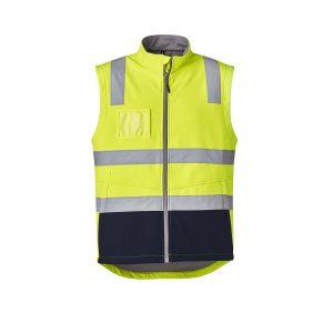 Unisex Hi Vis Softshell Vest - Yellow/Navy