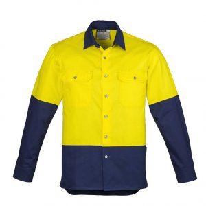 Mens Hi Vis Spliced Industrial Shirt - Yellow/Navy