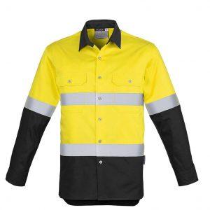 Mens Hi Vis Spliced Industrial Shirt - Hoop Taped - Yellow/Black