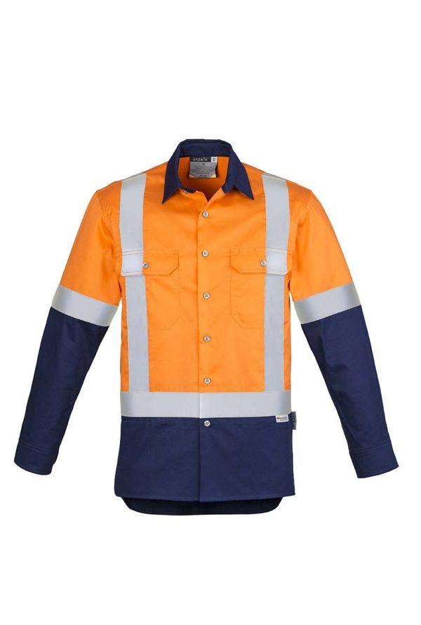 Mens Hi Vis Spliced Industrial Shirt - Shoulder Taped - Orange/Navy