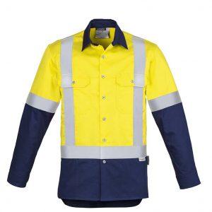 Mens Hi Vis Spliced Industrial Shirt - Shoulder Taped - Yellow/Navy