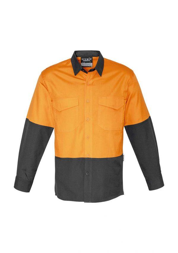 Mens Rugged Cooling Hi Vis Spliced Shirt - Orange/Charcoal