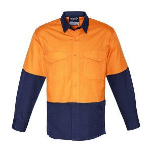 Mens Rugged Cooling Hi Vis Spliced Shirt - Orange/Navy