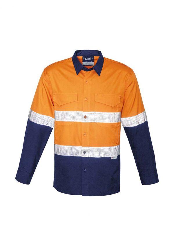 Mens Rugged Cooling Taped Hi Vis Spliced Shirt - Orange/Navy