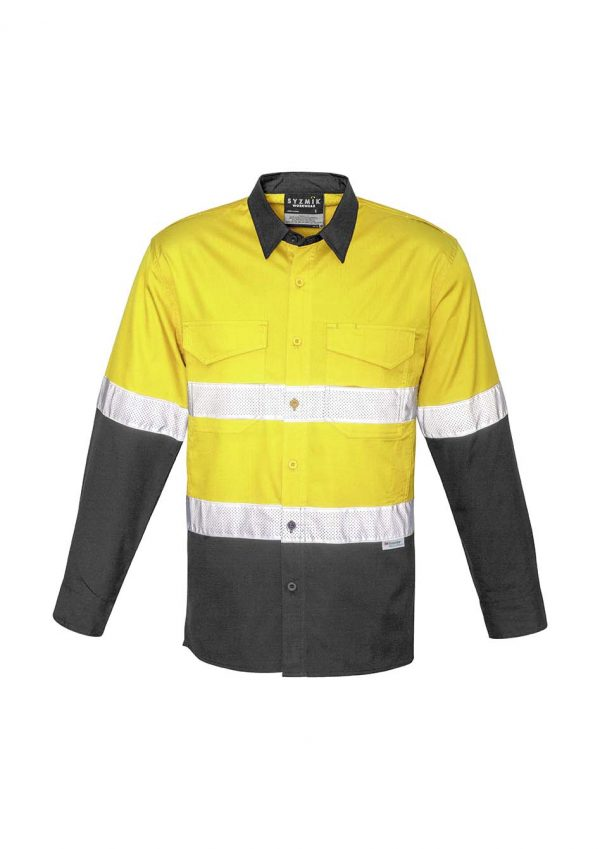 Mens Rugged Cooling Taped Hi Vis Spliced Shirt - Yellow/Charcoal