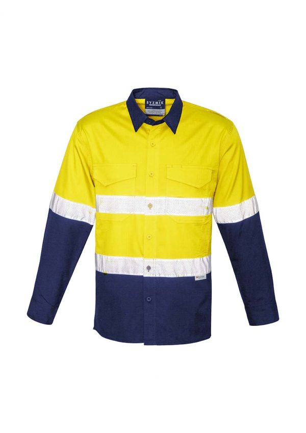 Mens Rugged Cooling Taped Hi Vis Spliced Shirt - Yellow/Navy