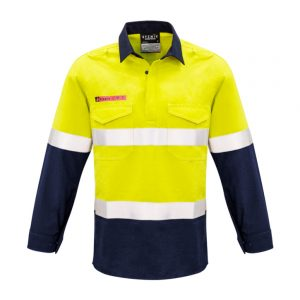 Mens FR Closed Front Hooped Taped Spliced Shirt - Yellow/Navy