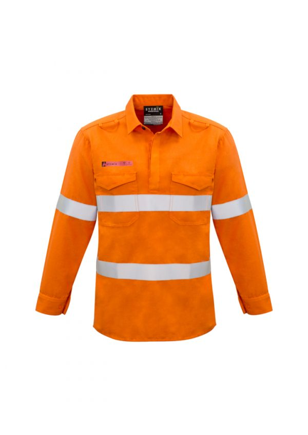 Mens FR Closed Front Hooped Taped Shirt - Orange