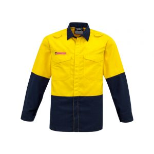 Mens Hi Vis Spliced Shirt - Yellow/Navy