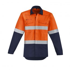 Mens Orange Flame HRC 2 Hoop Taped Open Front Spliced Shirt - Orange/Navy
