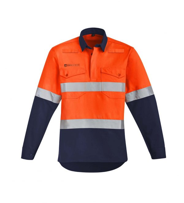 Mens Orange Flame HRC 2 Hoop Taped Closed Front Spliced Shirt - Orange/Navy