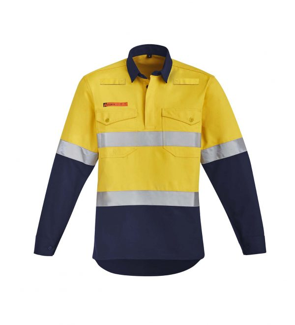 Mens Orange Flame HRC 2 Hoop Taped Closed Front Spliced Shirt - Yellow/Navy