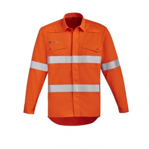 Mens Orange Flame HRC 2 Hoop Taped Open Front Spliced Shirt - Orange