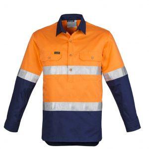 Mens Hi Vis Closed Front L/S Shirt - Hoop Taped - Orange/Navy