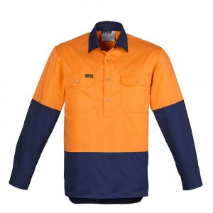 Mens Hi Vis Closed Front L/S Shirt - Orange/Navy