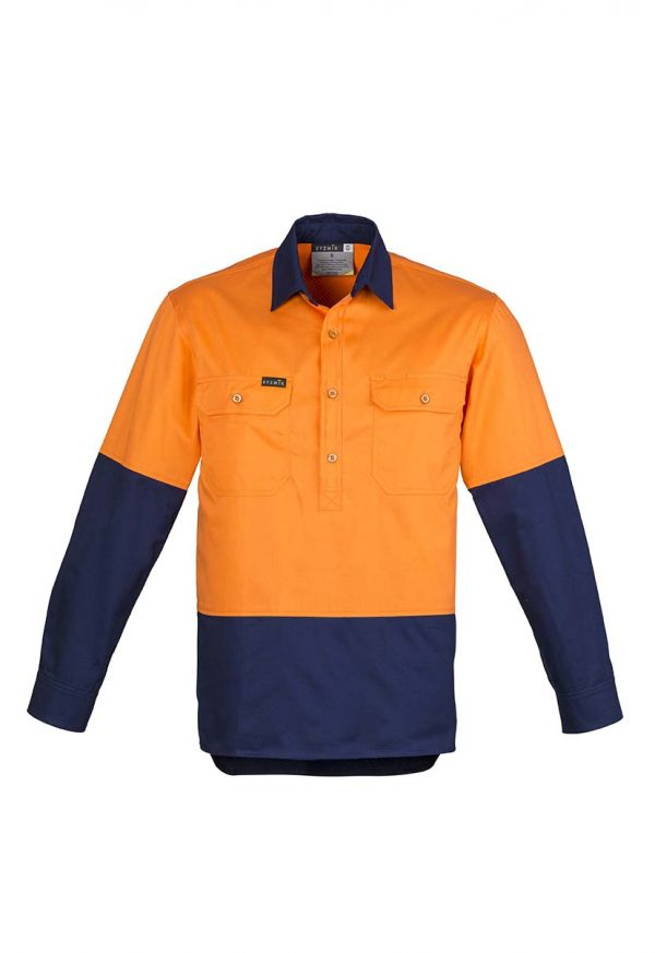Mens Hi Vis Closed Front L/S Shirt - Orange/Navy