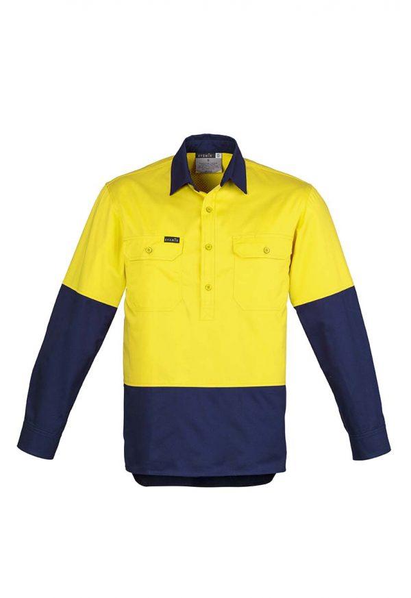 Mens Hi Vis Closed Front L/S Shirt - Yellow/Navy