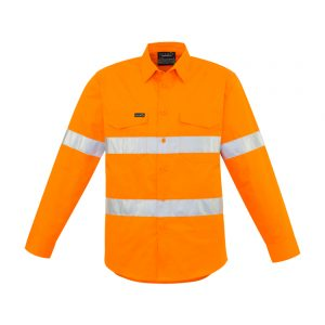 Mens Hi Vis Hoop Taped Shirt - Orange