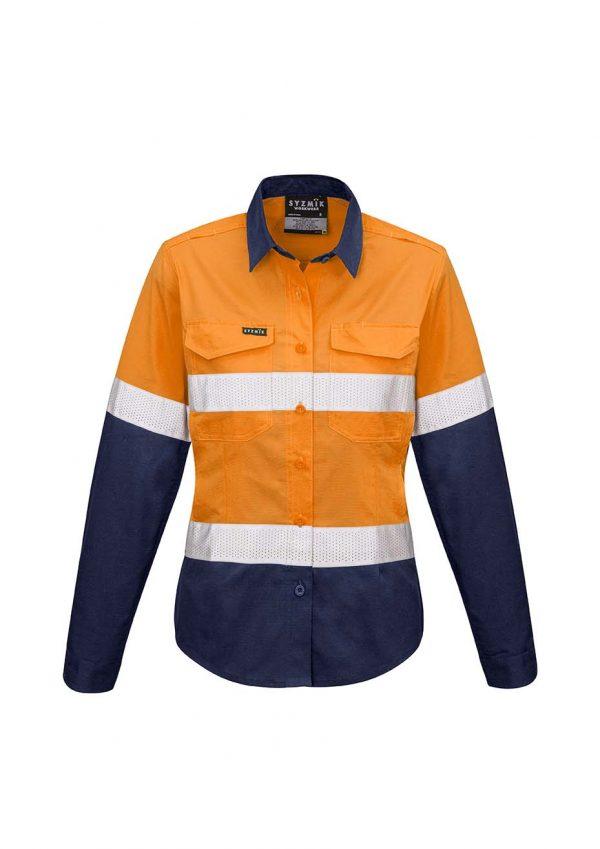 Womens Rugged Cooling Taped Hi Vis Spliced Shirt - Orange/Navy