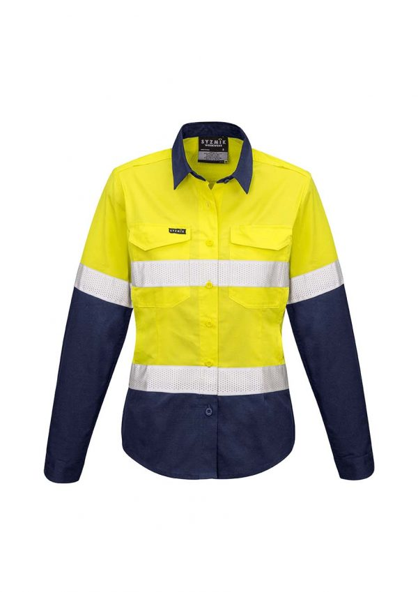 Womens Rugged Cooling Taped Hi Vis Spliced Shirt - Yellow/Navy