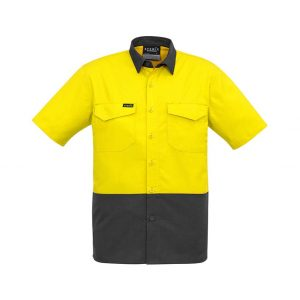 Mens Rugged Cooling Hi Vis Spliced S/S Shirt - Yellow/Charcoal