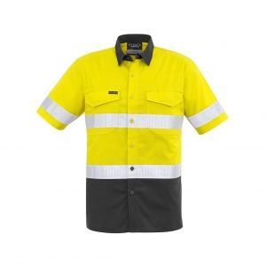 Mens Rugged Cooling Taped Hi Vis Spliced S/S Shirt - Yellow/Charcoal