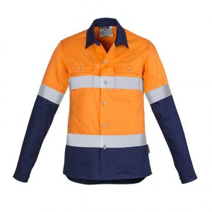 Womens Hi Vis Spliced Industrial Shirt - Hoop Taped - Orange/Navy